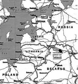 Kaartje van het huidige Baltische gebied.(Latvia = Letland. Belarus = Wit Rusland) De 'Russiche' Fijn van Draats woonden op Teklevill (iets ten westen van Smolensk), in Riga en in Narva
